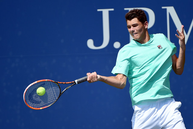 September 9, 2015 -  Taylor Fritz in action against  Stefanos Tsitsipas in a junior boys' singles third-round match during the 2015 US Open at the USTA Billie Jean King National Tennis Center in Flushing, NY. (USTA/Pete Staples)