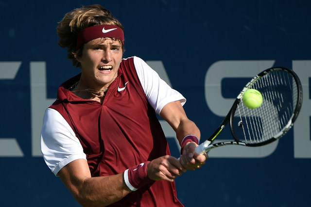 August 26, 2015 - Alexander Zverev in action against Horacio Zeballos (not pictured) in a men's singles qualifying match during the 2015 US Open at the USTA Billie Jean King National Tennis Center in Flushing, NY.
