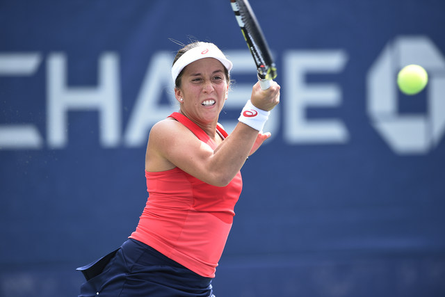 August 31, 2015 -Irina Falconi in action against Samantha Crawford (not pictured) in a women's singles first round match during the 2015 US Open at the USTA Billie Jean King National Tennis Center in Flushing, NY. (USTA/Steven Ryan)