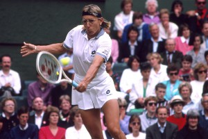 Martina Navratilova of USA plays in the Wimbledon Tennis Championships held at the All England Lawn Tennis and Croquet Club, Wimbledon..Women's tennis player..Action Picture.1992.Picture by Micky White.
