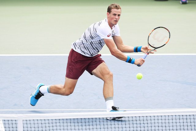 August 31, 2016 - Vasek Pospisil in action against Kevin Anderson during the 2016 US Open at the USTA Billie Jean King National Tennis Center in Flushing, NY.