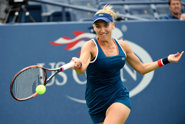 September 3, 2016 - Elena Vesnina in action against Carla Suarez Navarro during the 2016 US Open at the USTA Billie Jean King National Tennis Center in Flushing, NY.