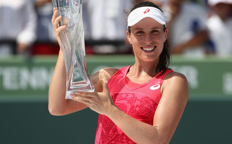 KEY BISCAYNE, FL - APRIL 01: Johanna Konta of Great Britain celebrates with the trophy after defeating Caroline Wozniacki of Denmark in the final at Crandon Park Tennis Center on April 1, 2017 in Key Biscayne, Florida.   Julian Finney/Getty Images/AFP