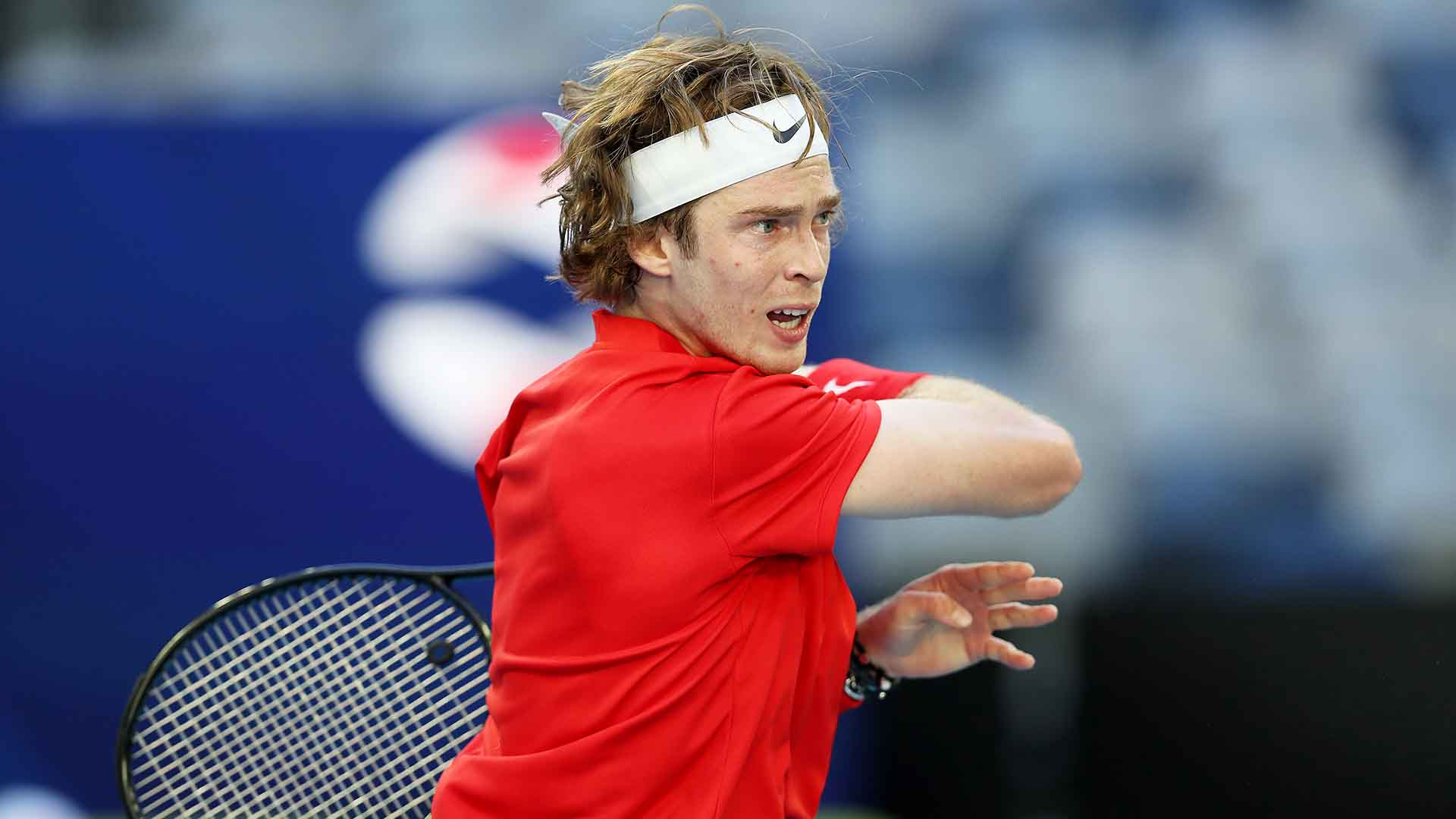 MELBOURNE, AUSTRALIA - FEBRUARY 03: Andrey Rublev of Russia plays a forehand in his Group D singles match against Yoshihito Nishioka of Japan during day two of the 2021 ATP Cup at Rod Laver Arena on February 03, 2021 in Melbourne, Australia. (Photo by Jack Thomas/Getty Images)