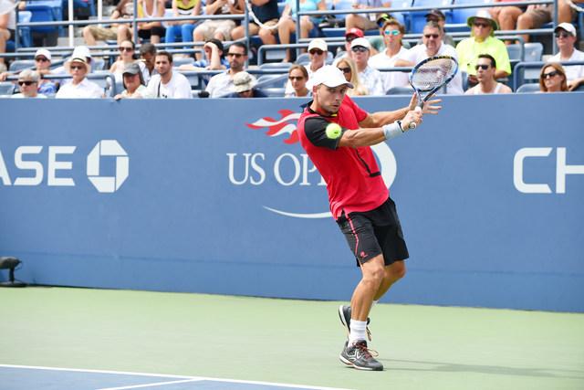 August 31, 2016 - Steve Darcis in action against John Isner during the 2016 US Open at the USTA Billie Jean King National Tennis Center in Flushing, NY.